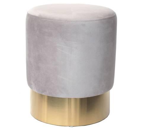 Pouf cilindro velluto grigio chiaro fascia oro alta 42h