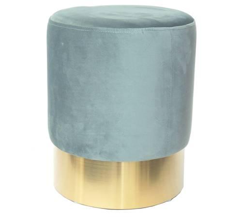 Pouf cilindro velluto verde acqua fascia oro alta 42h