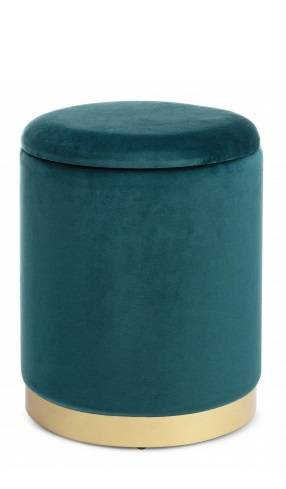 Pouf contenitore velluto blu petrolio navy 30x37h