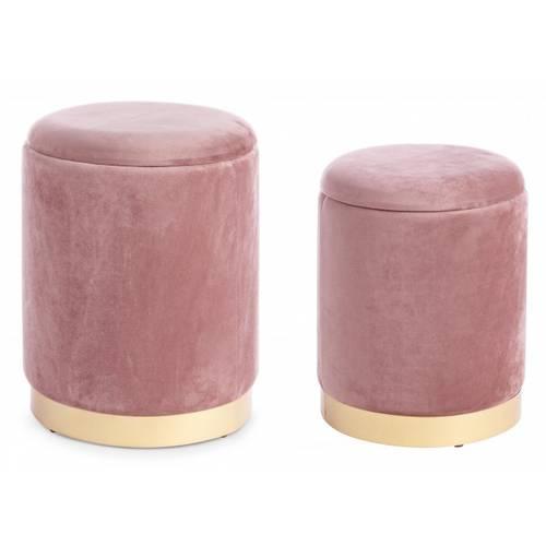 Coppia pouf contenitore velluto rosa antico