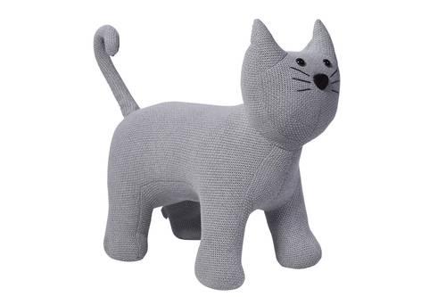 Pouf gatto tricot cotone grigio