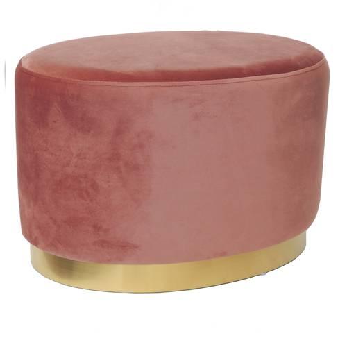 Pouf ovale velluto rosa fascia oro 40h