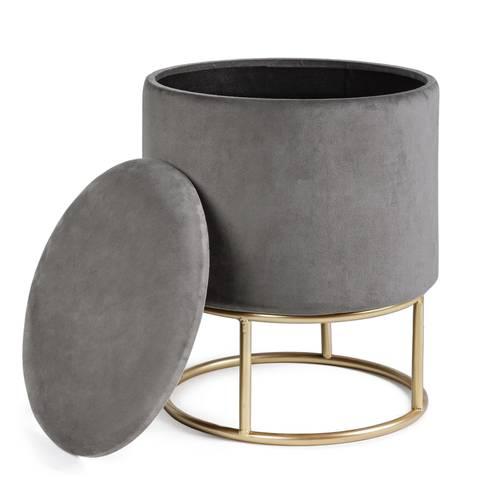 Pouf sgabello contenitore velluto grigio con base oro 45h