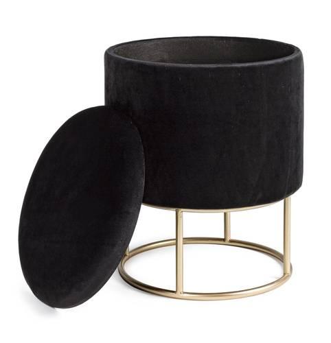 Pouf sgabello contenitore velluto nero con base oro 45h