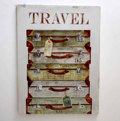 Quadro a olio valigie con mappa 75x100