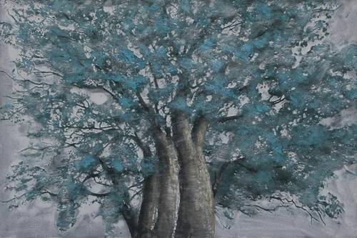 Quadro a olio vaso albero quercia azzurra 120x80