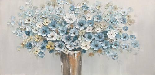 Quadro a olio vaso di fiori azzurri e bianchi 120x60