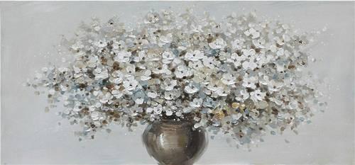 Quadro a olio vaso di fiori bianchi 150x70h