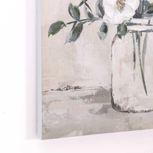 Quadro a olio vaso di fiori bianchi e foglie verdi 50x60h