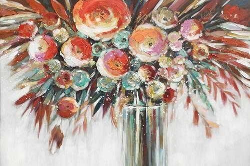 Quadro a olio vaso di fiori colorati 120x80