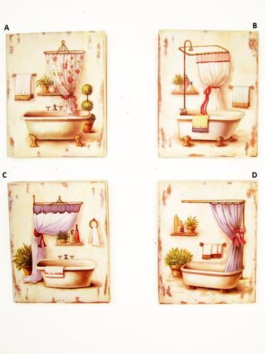 Quadro bagno dipinto vasche 20x25