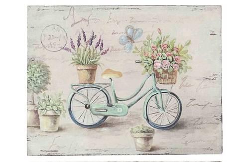Quadro dipinto bicicletta con cestino rose 40x30