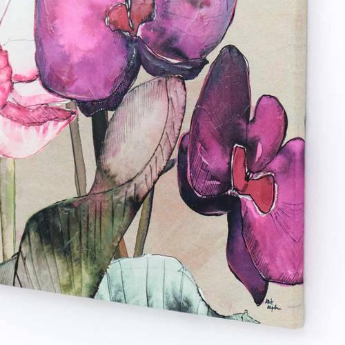 Quadro dipinto fiori di loto viola 90x90