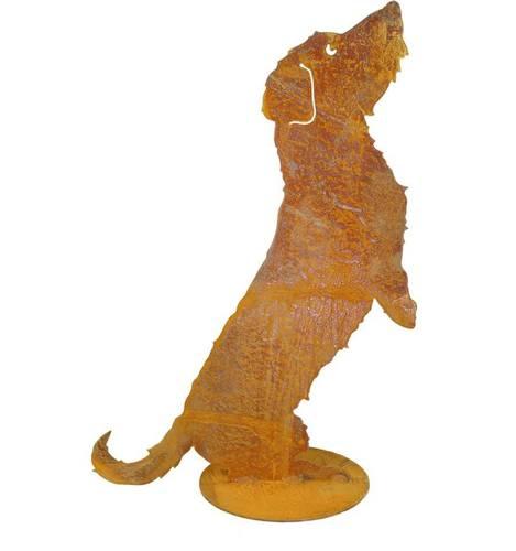 Sagoma cane bassotto in piedi ferro ruggine da giardino