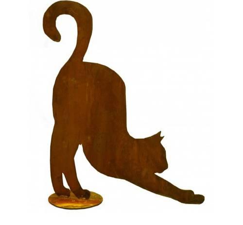Sagoma gatto allungato ferro ruggine da giardino