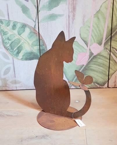 Sagoma gatto con farfalla sulla coda ferro ruggine da giardino