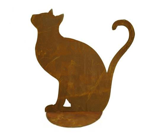 Sagoma gatto seduto ferro ruggine da giardino