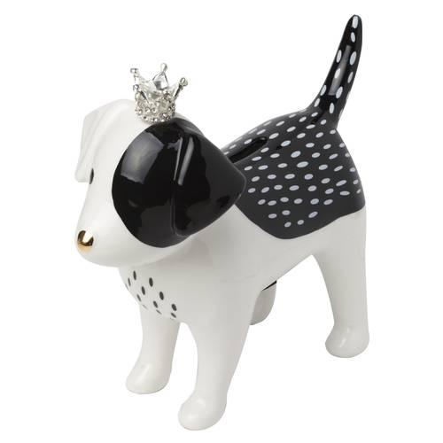Salvadanaio chic cane bianco e nero ceramica