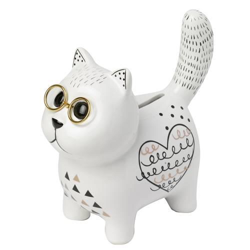 Salvadanaio chic gatto bianco con gli occhiali ceramica