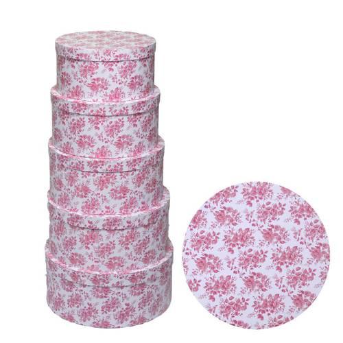 Scatola cartone tonda cappelliera stampa fiori rosa