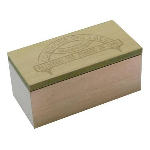 Scatola legno porta bustine tea 2 scomparti coperchio verde