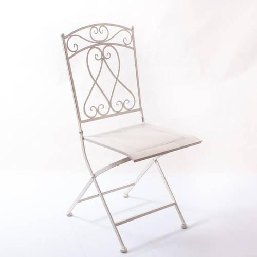 Sedia ferro battuto bianco con riccioli pieghevole