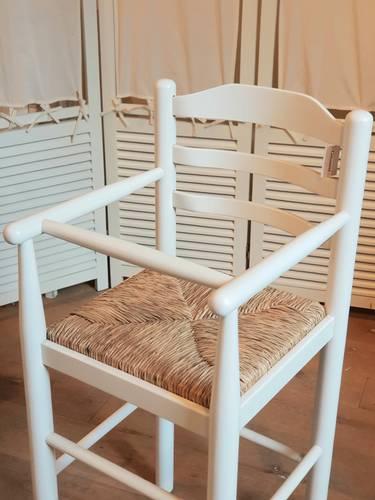 Seggiolone bimbo legno bianco seduta impagliata