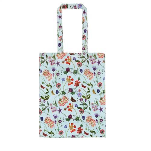 Shopping bag azzurra fiori Floral Spring pvc manici lunghi