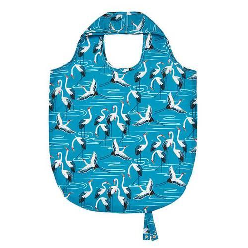 Shopping bag pieghevole azzurra gru bianche