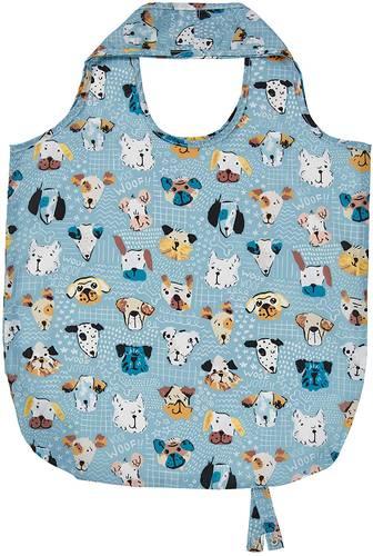 Shopping bag pieghevole azzurra musetti cani