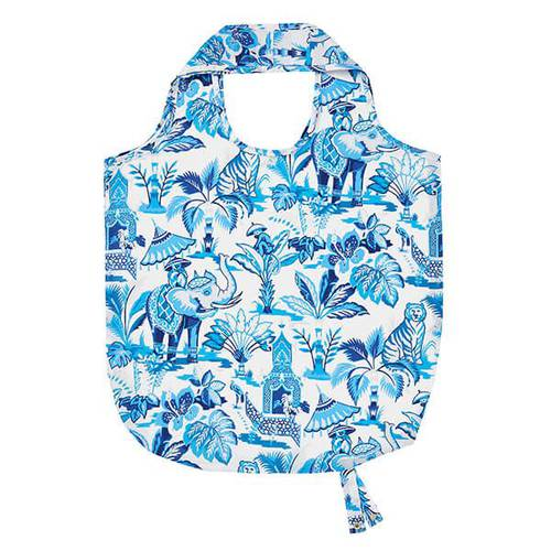 Shopping bag pieghevole blu India elefanti