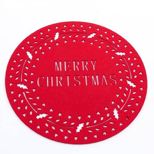 Sottopiatto tondo panno rosso Merry Christmas
