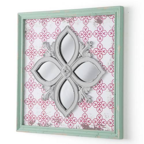 Specchio arabesque quadrato decori rossi