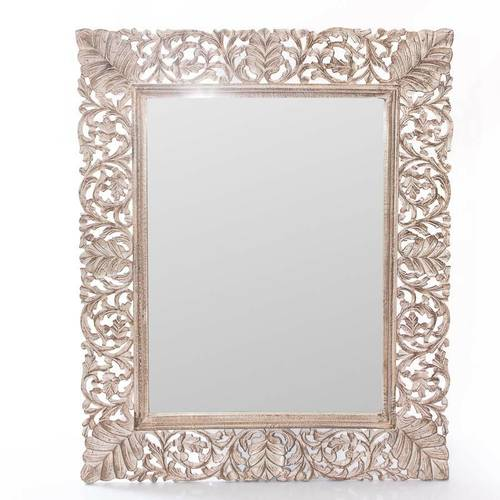 Specchio legno naturale sbiancato intagliato 62x82