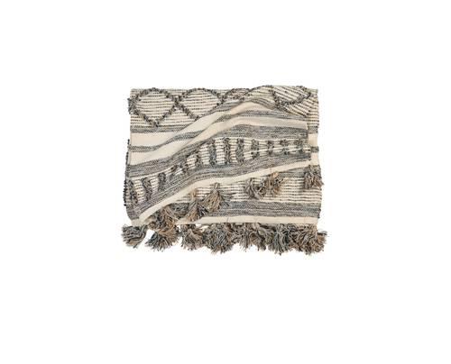 Tappeto bianco e beige geometrie cotone intrecciato 160x240