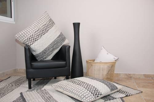 Tappeto cotone intrecciato geometrie bianco grigio nero 120x180