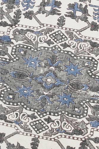 Tappeto cotone stampa fiori bianco-blu 140x200