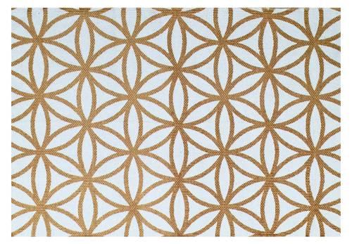 Tappeto cotone stampa geometrica ocra 60x90