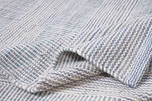 Tappeto lana disegual filo blu e beige 140x200