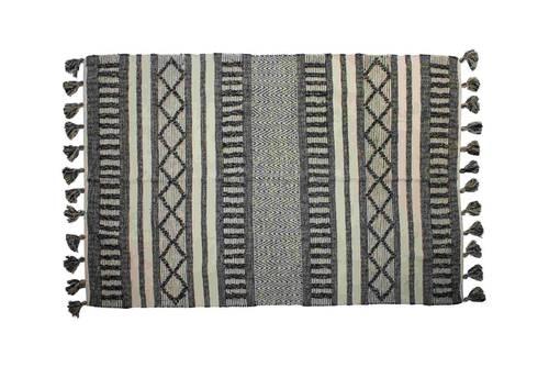 Tappeto nero e beige geometrie cotone intrecciato 160x240