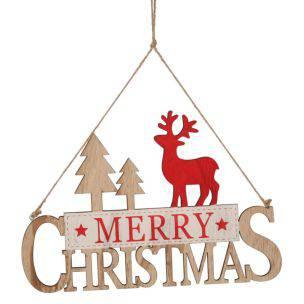 Targa natalizia da porta in legno Merry Christmas con renna