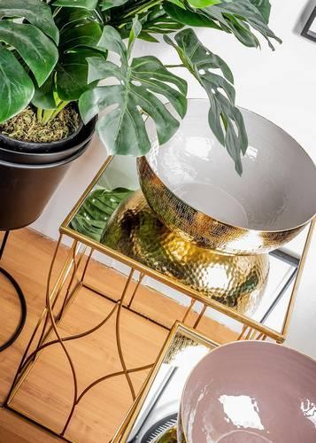 Coppia tavolini salotto quadrati metallo oro vetro a specchio