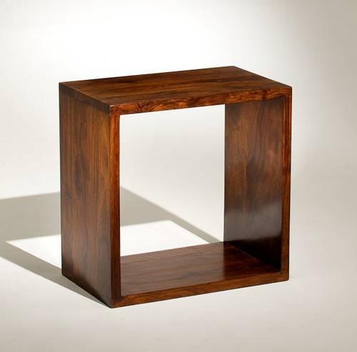 Tavolino cubo legno noce 50x50