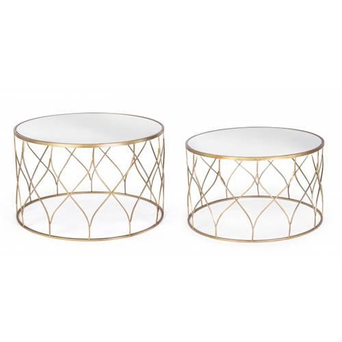 Tavolino metallo oro tondo con vetro a specchio