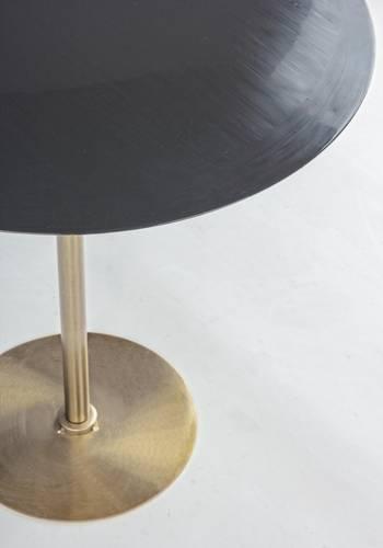 Tavolino salotto metallo oro e piano smaltato grigio cm50