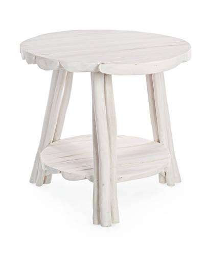 Tavolino teak bianco tondo cm50