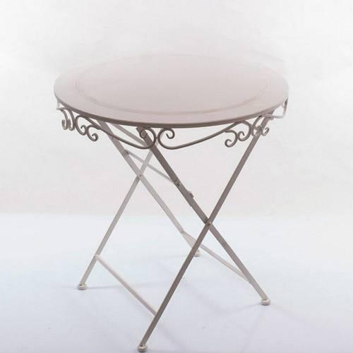 Tavolo ferro battuto bianco con riccioli cm70 pieghevole