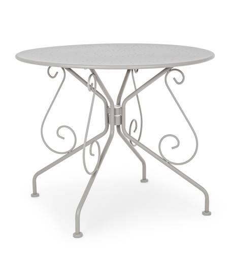 Tavolo tondo ferro grigio chiaro modello romantique cm 90