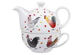 Tazza con teiera galli colorati porcellana