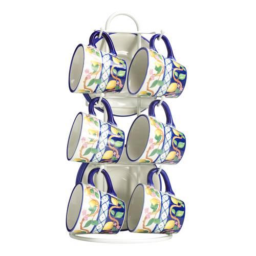 Tazzine caffè Limoni ceramica 6pz con supporto
